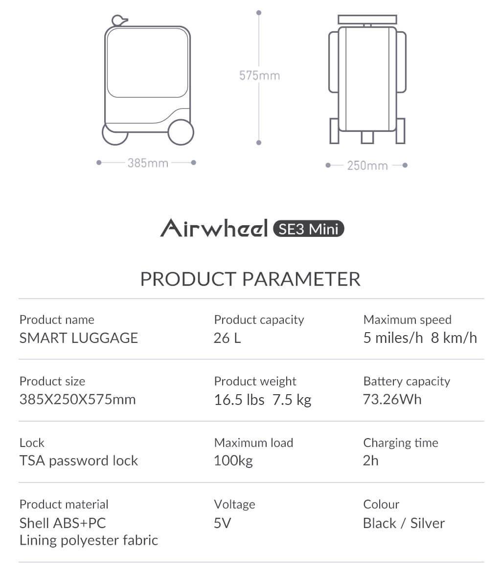 Airwheel SE3Mini ride on luggage