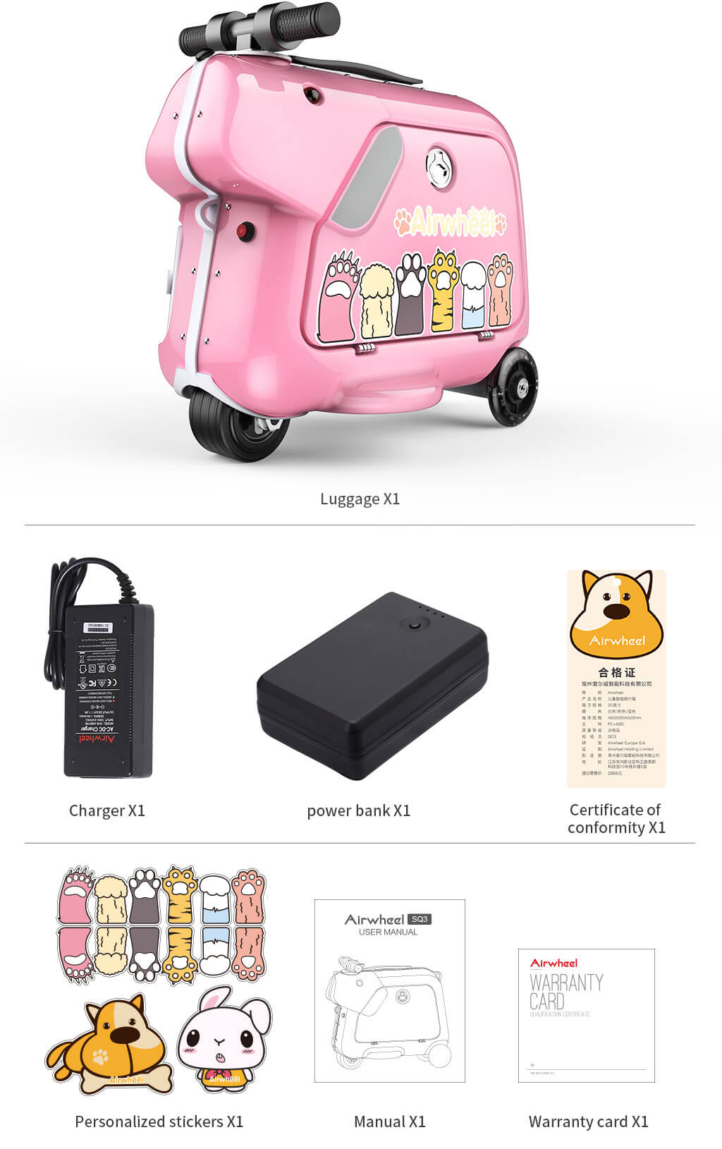 Airwheel SQ3 Kids carry on electrc music luggage